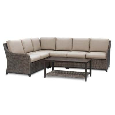 Mitchell 5-Pieces Wicker Outdoor Section Set with Tan Cushions