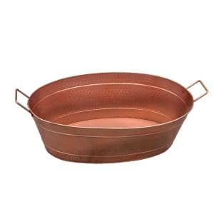 1.7 Gal. Copper Steel Oval Shape Hammered Texture Metal Tub with 2 Side Handles