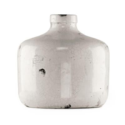 Round Distressed White Large Decorative Vase