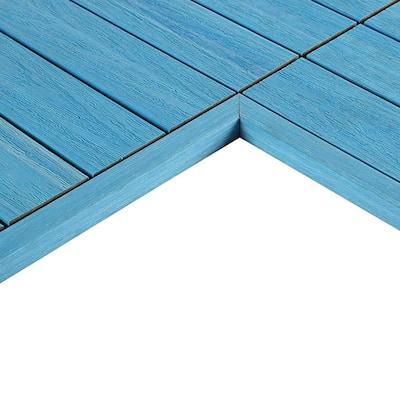1/6 ft. x 1 ft. Quick Deck Composite Deck Tile Inside Corner Trim in Caribbean Blue (2-Pieces/Box)