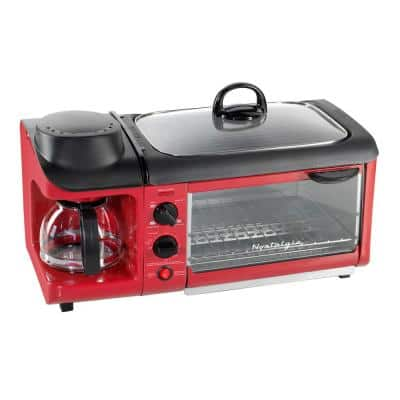 1500 W 4-Slice Red Toaster Oven Breakfast Station