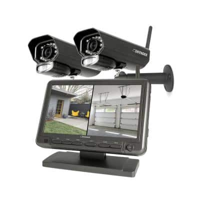 PHOENIXM2 4 Channel Digital Wireless 7 in. Monitor DVR Security System with 2 Night Vision Cameras and SD Card Recording