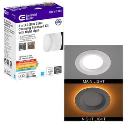Ultra Slim 3 in. Canless Selectable CCT Integrated LED Recessed Light Trim with Night Light Feature 550 Lumens
