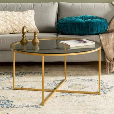 36 in. Clear/Gold Medium Round Glass Coffee Table