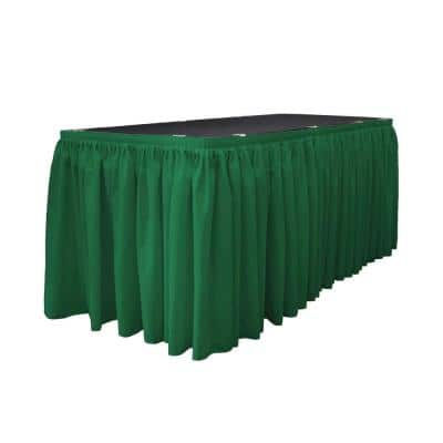 14 ft. x 29 in. Long Emerald Green Polyester Poplin Table Skirt with 10 L-Clips