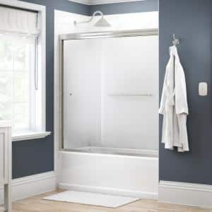 Simplicity 60 in. x 58-1/8 in. Semi-Frameless Traditional Sliding Bathtub Door in Nickel with Droplet Glass