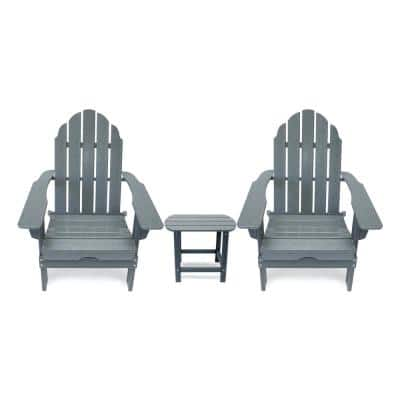 Balboa Gray Outdoor Patio Folding Plastic Adirondack Chair and Table Set