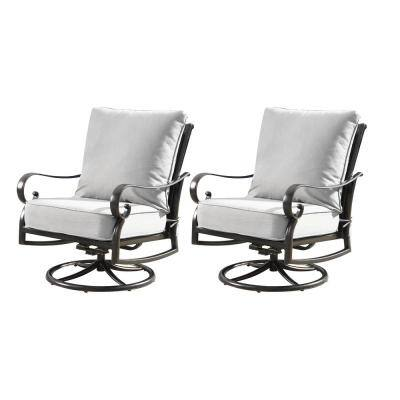 Luxury Antique Copper Swivel Rocking Aluminum Outdoor Lounge Chair with Gray Cushions (2-Pack)