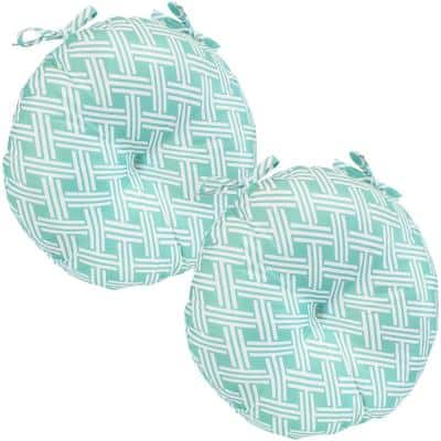 15 in. x 4 in. Polyester Round Outdoor Patio Seat Cushions in Geometric Green (Set of 2)