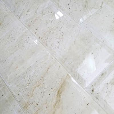 Marble Look Crema Marfil Cream Beveled Subway 4 in. x 8 in. Glossy Glass Decorative Wall Tile (2.22 Sq. Ft./Case)
