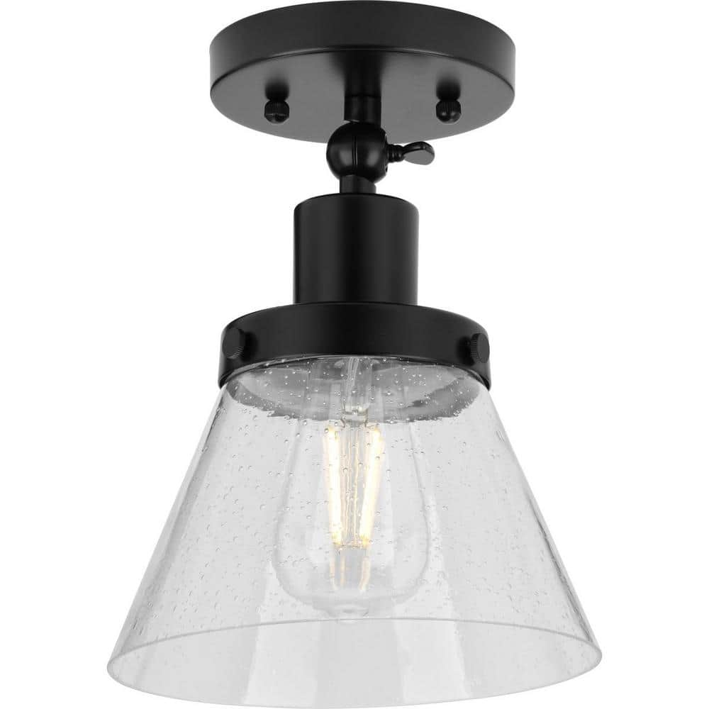 Progress Lighting Hinton 1 Light Matte Black Seeded Glass Industrial Flush Mount Ceiling Light P350198 031 The Home Depot