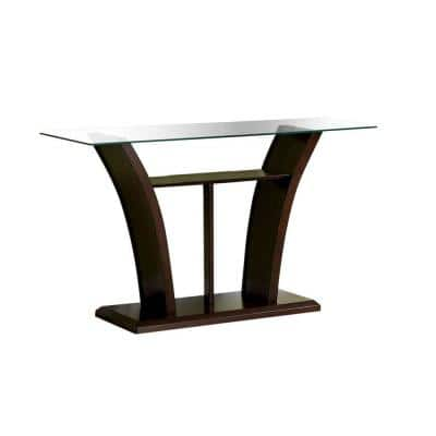 Ali 50 in. Dark Cherry Standard Rectangle Glass Console Table with Storage