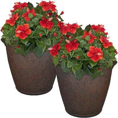 24 in. Rust Anjelica Resin Outdoor Flower Pot Planter (2-Pack)