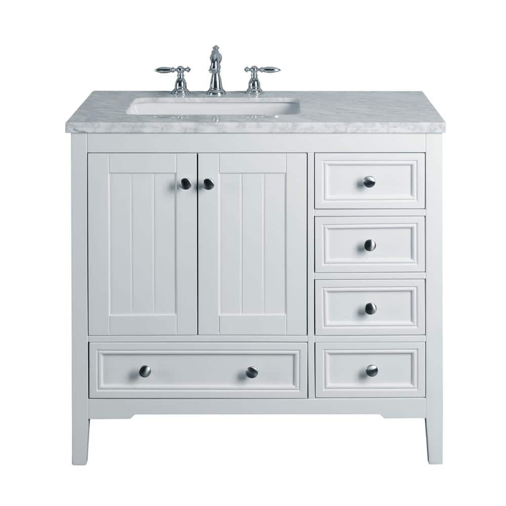 Stufurhome New Yorker 36 In White Single Sink Bathroom Vanity With Marble Vanity Top And White Basin Hd 1616w 36 Cr The Home Depot