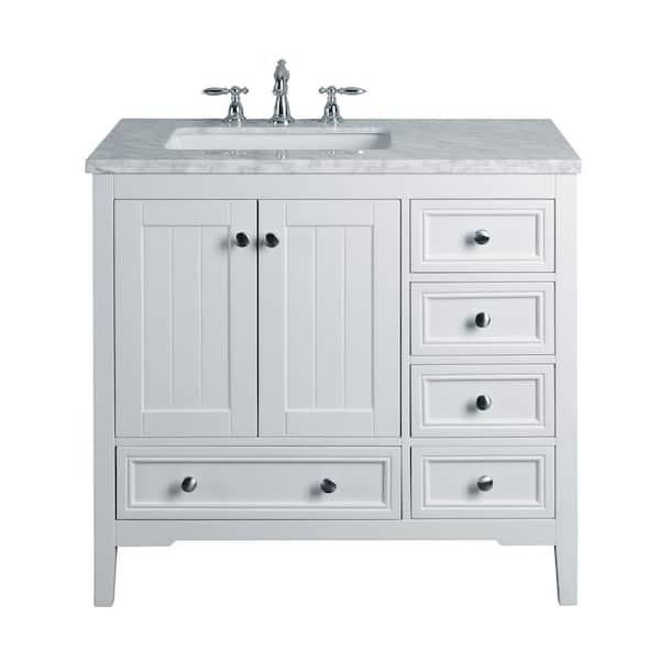 White Single Sink Bathroom Vanity, Bathroom Vanities With Tops Single Sink