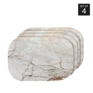 Marble Cork 12'' x 18'' In. Yellows and Golds Cork Oval Placemats Set of 4