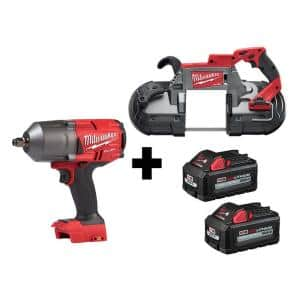 M18 FUEL 18-Volt 1/2 in. Lithium-Ion Brushless Cordless Impact Wrench w/ Friction Ring & Bandsaw w/ Two 6.0Ah Batteries