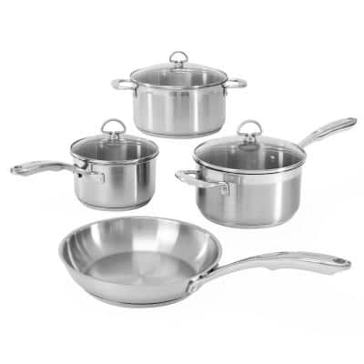 Induction 21 Steel 7-Piece Stainless Steel Cookware Set in Brushed Stainless Steel