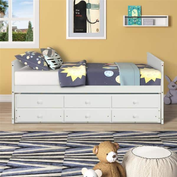 White Full Size Daybed Captain Bed, Full Size Bed With Trundle And Storage Drawers