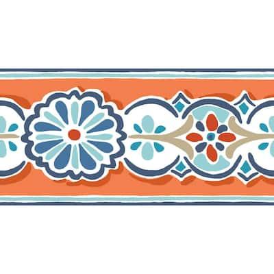 Folklore Border orange/blue Wallpaper Border