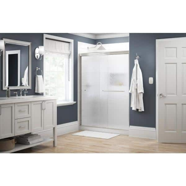 Delta Simplicity 60 In X 70 In Semi Frameless Traditional Sliding Shower Door In Nickel With Rain Glass 1117979 The Home Depot
