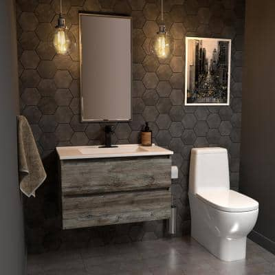 Sidemere 36 in. W x 18 in. D Vanity in Driftwood Gray with Porcelain Vanity Top in Solid White with White Basin