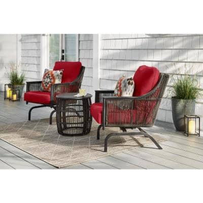 Bayhurst  Black 3-Piece Wicker Outdoor Patio Motion Seating Set with CushionGuard Chili Red Cushions