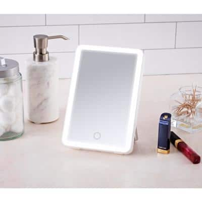 Portable Lighted Vanity Mirror 6 in. x 8 in. with Bluetooth speaker Hands free Speakerphone and USB Charging