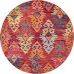 Sedona Desert Rust Red/Multi-Color 6 ft. Global Round Rug