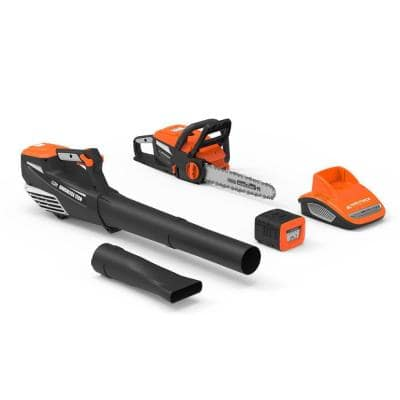 60-Volt Cordless 2.5 Ah Lithium-ion Cordless Blower, Chainsaw, 1 Battery and 1 Charger Combo Kit (4-Tool)