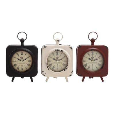 """10 in. x 8 in. Multi Rounded Square """"Paris-1925"""" Table Clocks (Set of 3)"""