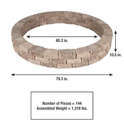 Rumblestone 79.3 in. x 10.5 in. Concrete Tree Ring Kit in Cafe