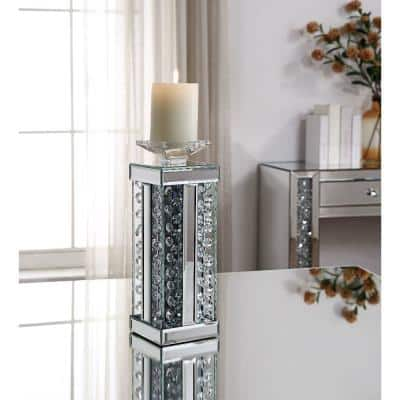 Clear Wood and Glass Candle Holder with Faux Crystal Studs (Set of 2)