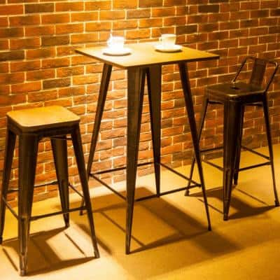 40 in. H Antique Black Bar Table No Chairs Pub Tables Bar Vintage Bistro Table Metal Rectangular
