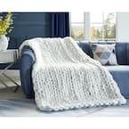 Berenice 50 in. x 70 in. Cream White Throw Blanket Cozy 100% Polyester