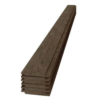 1 in. x 6 in. x 8 ft. Barn Wood Dark Brown Shiplap Pine Board (6-Pack)