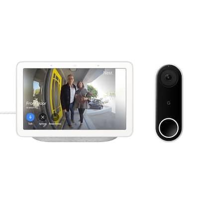 "Nest Hello Wired Smart Wi-Fi Video Doorbell + Nest Hub 1st Gen 7"" Smart Home Display Chalk"