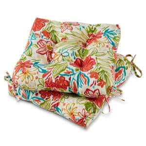 Breeze Floral 20 in. x 20 in. Tufted Square Outdoor Seat Cushion (2-Pack)