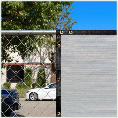 6 ft. x 50 ft. Heavy-Duty PLUS Grey Privacy Fence Screen Mesh Fabric with Extra-Reinforced Grommets for Garden Fence