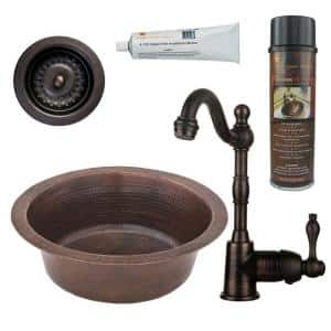 Bronze 16 Gauge Copper 14 in. Dual Mount Bar Sink with Faucet and 3.5 in. Strainer Drain