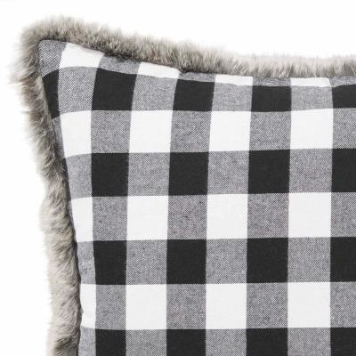 Cabin Plaid Fur 20 in. x 20 in. Throw Pillow
