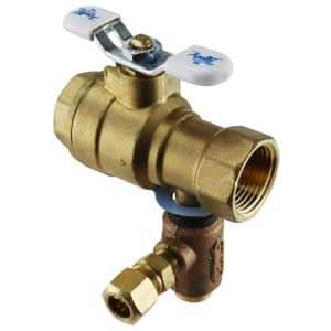3/4 in. LF Brass Full Port Threaded Ball Valve with Integral Thermal Expansion Relief Valve 3/8 in. Compression Outlet