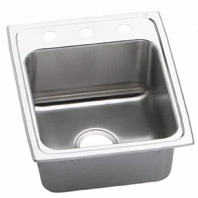 Lustertone Drop-In Stainless Steel 17 in. 3-Hole Single Bowl Kitchen Sink with 10 in. Bowl