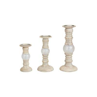 StyleWell Antiqued Wood and Glass Ball Candle Holder (Set of 3)