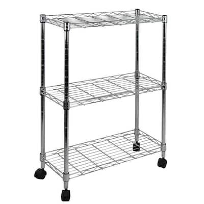 Chrome 3-Tier Metal Garage Storage Shelving Unit (5 in. W x 24 in. H x 10 in. D)