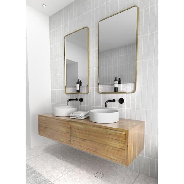 Glass Warehouse 22 In W X 40 In H Framed Square Bathroom Vanity Mirror In Satin Brass Mf Shelf Sb The Home Depot
