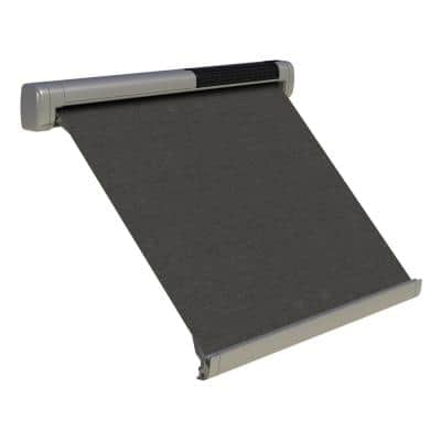8 ft. Solar Powered Home Window Retractable Smart Awning, Stone Grey Case, Slate Fabric