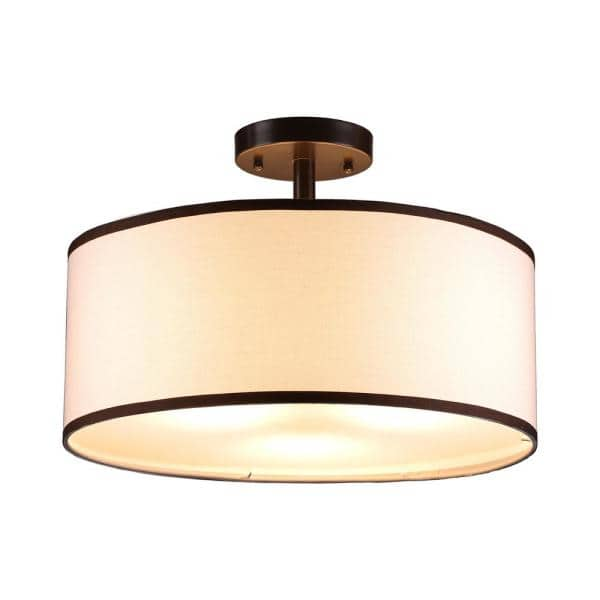 Merra 18 In 3 Light Antique Bronze Semi Flush Mount With White Fabric Drum Shade Hcf 1303 Bz Bnhd 1 The Home Depot