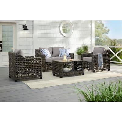 Briar Ridge Brown Wicker Outdoor Patio Loveseat with CushionGuard Stone Gray Cushions
