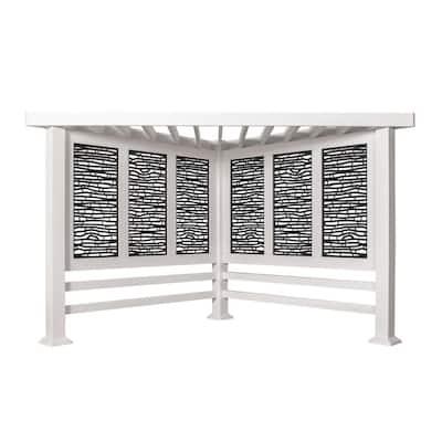 Richmond 8 ft. x 8 ft. White Steel Modern Cabana Pergola